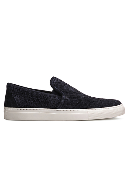 WOVEN SUEDE SLIP-ONS, Blue, medium