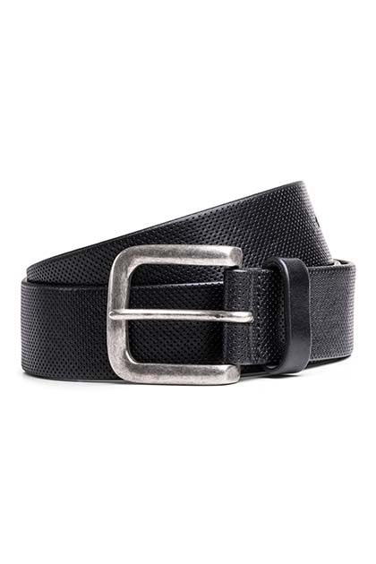LASER ENGRAVED LEATHER BELT, Nero, medium