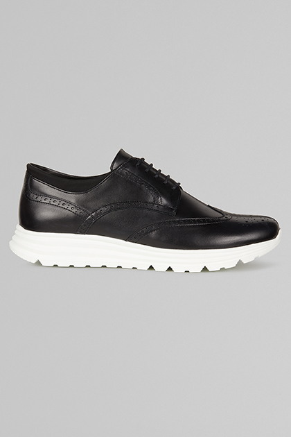 DERBY STYLE LEATHER TRAINERS, BLACK, medium