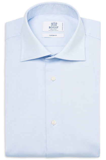 CAMICIA COTONE PIN POINT DOPPIO RITORTO COLLO WINDSOR, Azzurro, medium