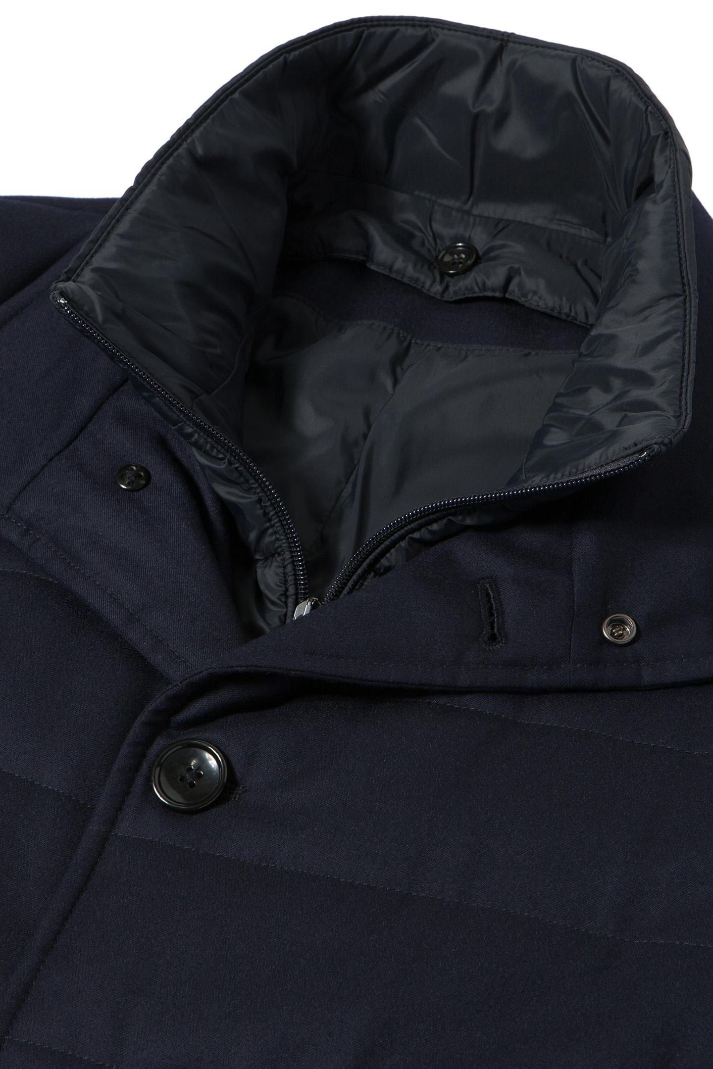 QUILTED PEA COAT WITH BIB - FLANNEL Blue | Boggi : quilted pea coat - Adamdwight.com