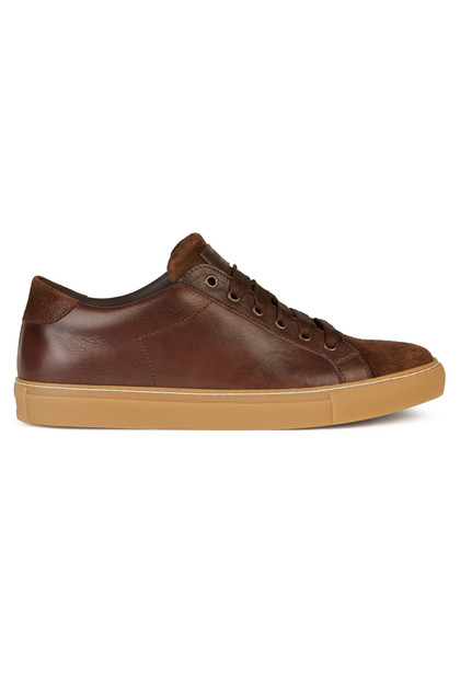 BI-MATERIAL LEATHER AND SUEDE TRAINERS, Dark Brown, medium