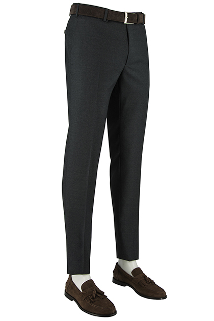 SUPER 100 WOVEN WOOL TROUSERS, Medium grey, medium