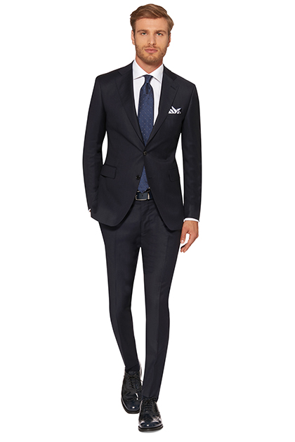 COLOURED MICRO PINSTRIPE SUIT - SUPER 130 WOOL - MADE IN ITALY, Navy Blue, medium