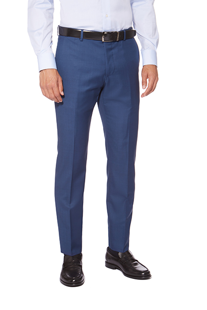 GRISAILLE TROUSERS IN SUPER 110 WOOL, Blue, medium