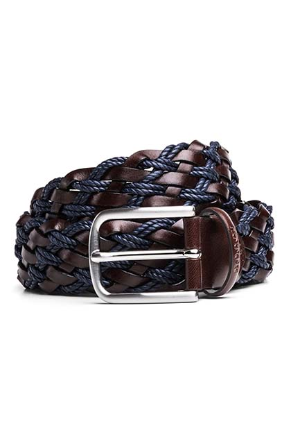 WOVEN LEATHER AND COTTON BELT, NAVY - DARK BROWN, medium