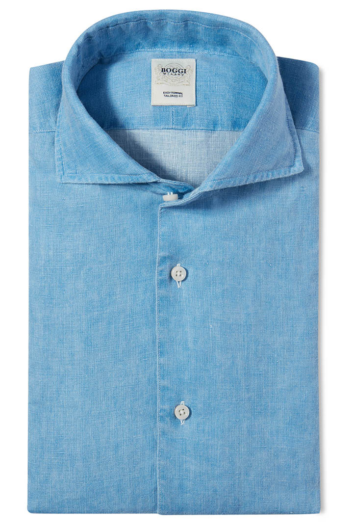 TAILORED FIT COATED LINEN SHIRT WITH BOWLING COLLAR, Light Blue, large