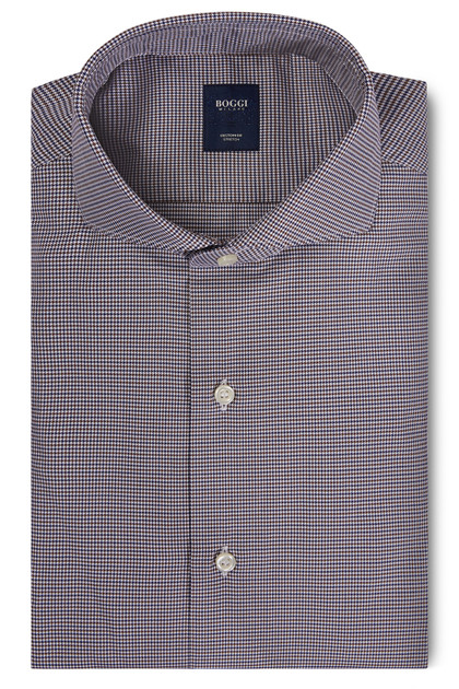 CUSTOM FIT BLUE/DARK BROWN SHIRT WITH NAPLES COLLAR, Blue - Dark brown, medium
