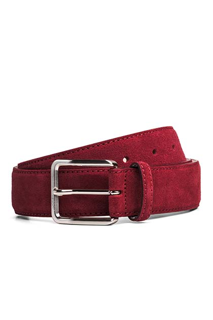 SUEDE BELT, Red, medium