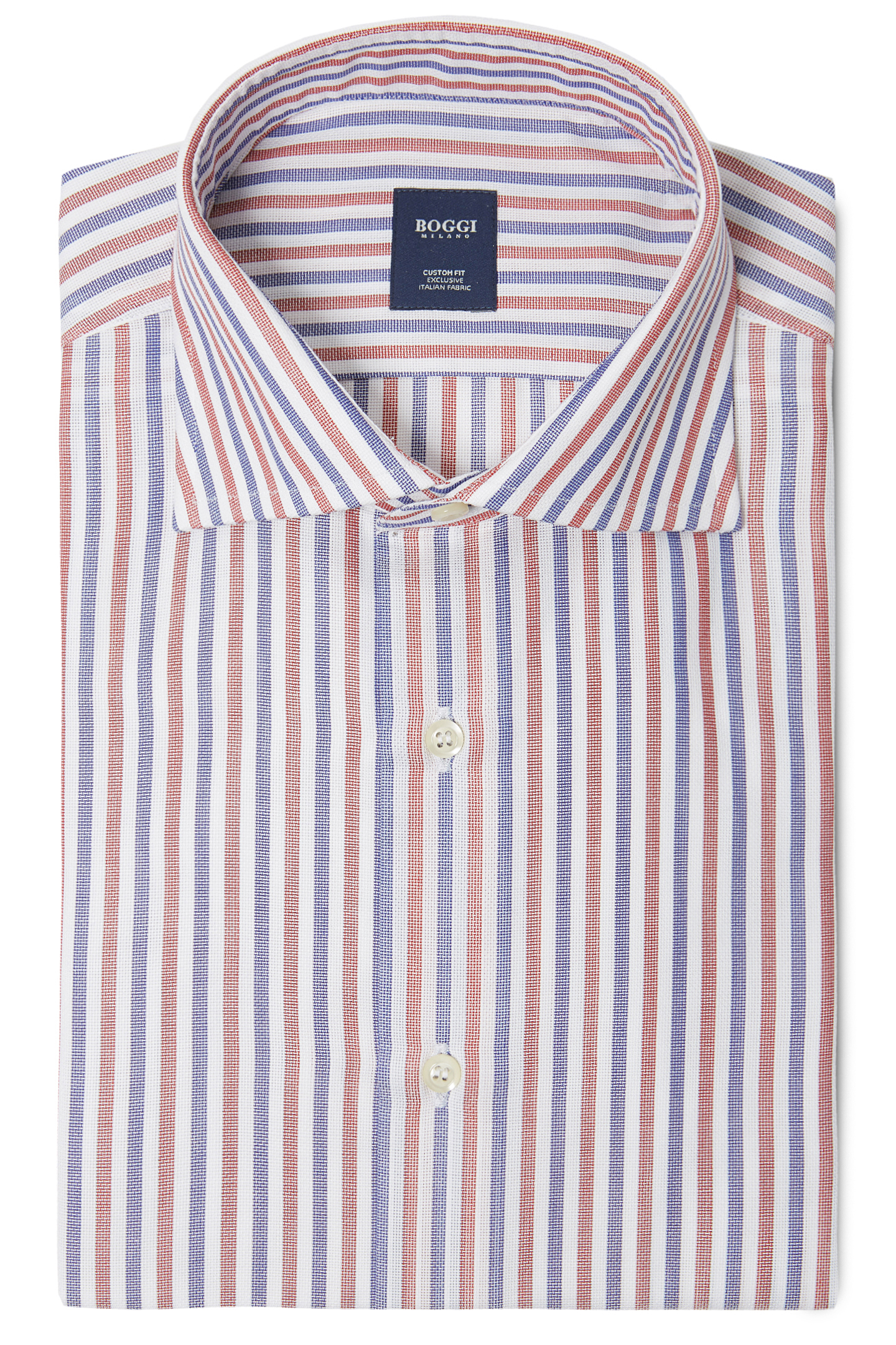 Custom Fit Textured Cotton Shirt With Windsor Collar Boggi