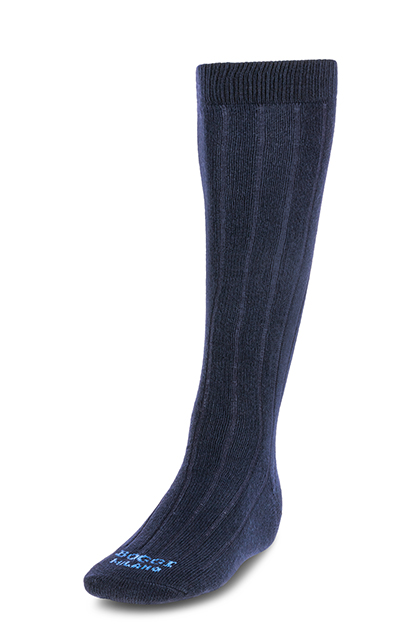 LONG RIBBED CASHMERE BLEND SOCKS - MADE IN ITALY, Navy Blue, medium