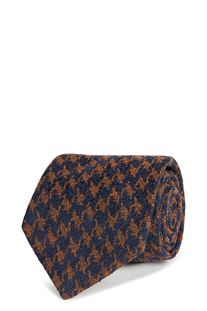 BOURETTE SILK HOUNDSTOOTH TIE, Blue - Orange, medium