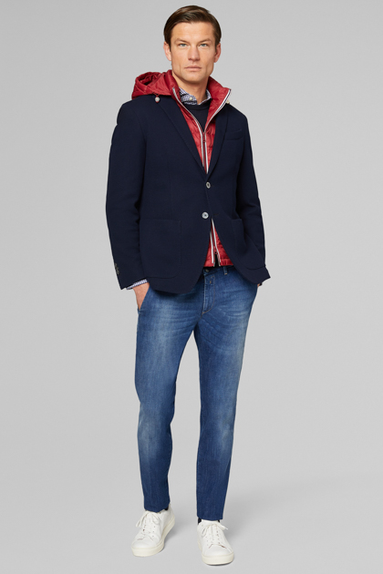 BLAZER NAVY BARI IN JERSEY DI COTONE, NAVY, medium