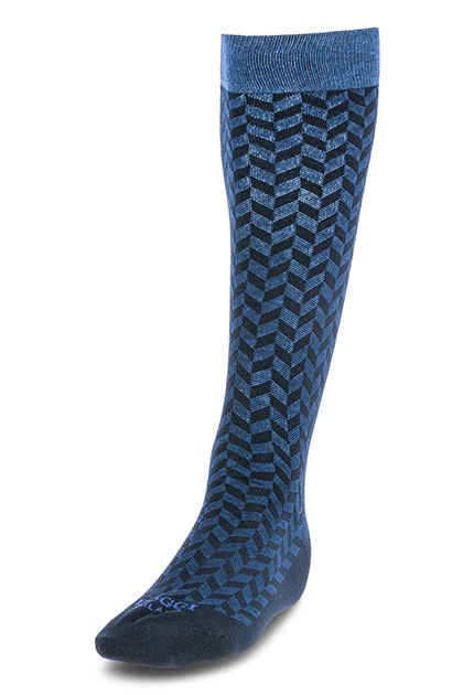 LONG LARGE-SCALE HERRINGBONE COTTON SOCKS - MADE IN ITALY, Navy - Light blue, medium