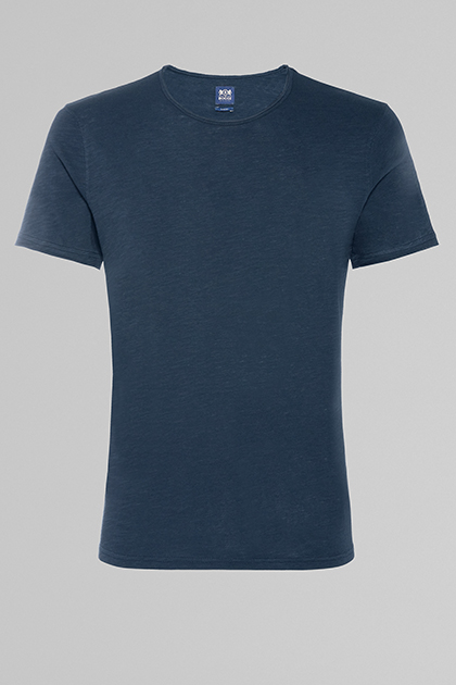 FLAMED COTTON JERSEY T-SHIRT, NAVY BLUE, medium