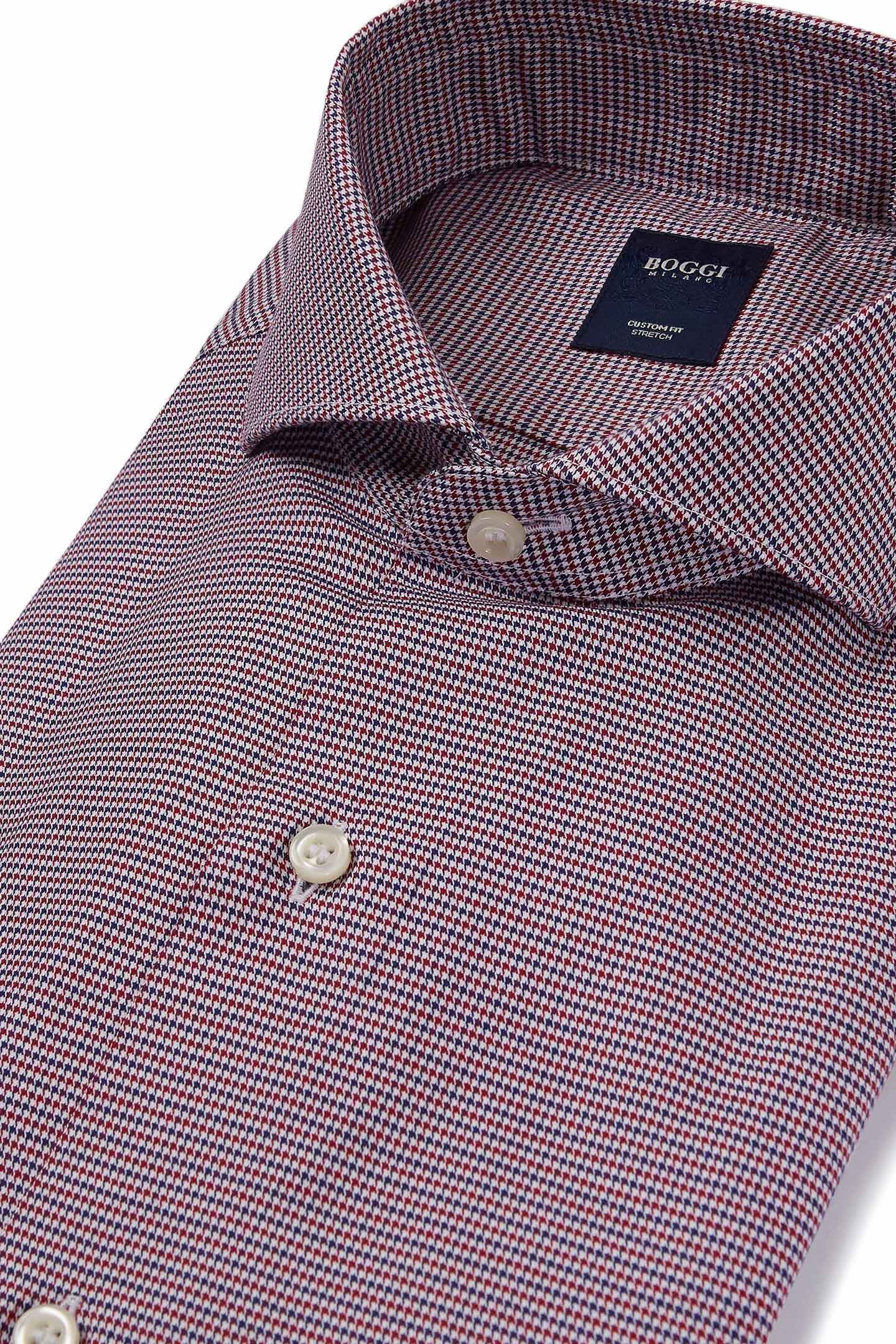 CAMICIA COLLO NAPOLI BLU-BORDEAUX CUSTOM FIT  932b2f7ea991