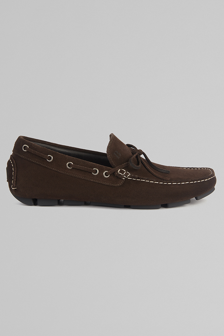 SUEDE LOAFERS, DARK BROWN, large