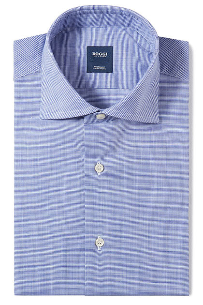 CUSTOM FIT SLUB COTTON SHIRT WITH WINDSOR COLLAR, Blue, medium