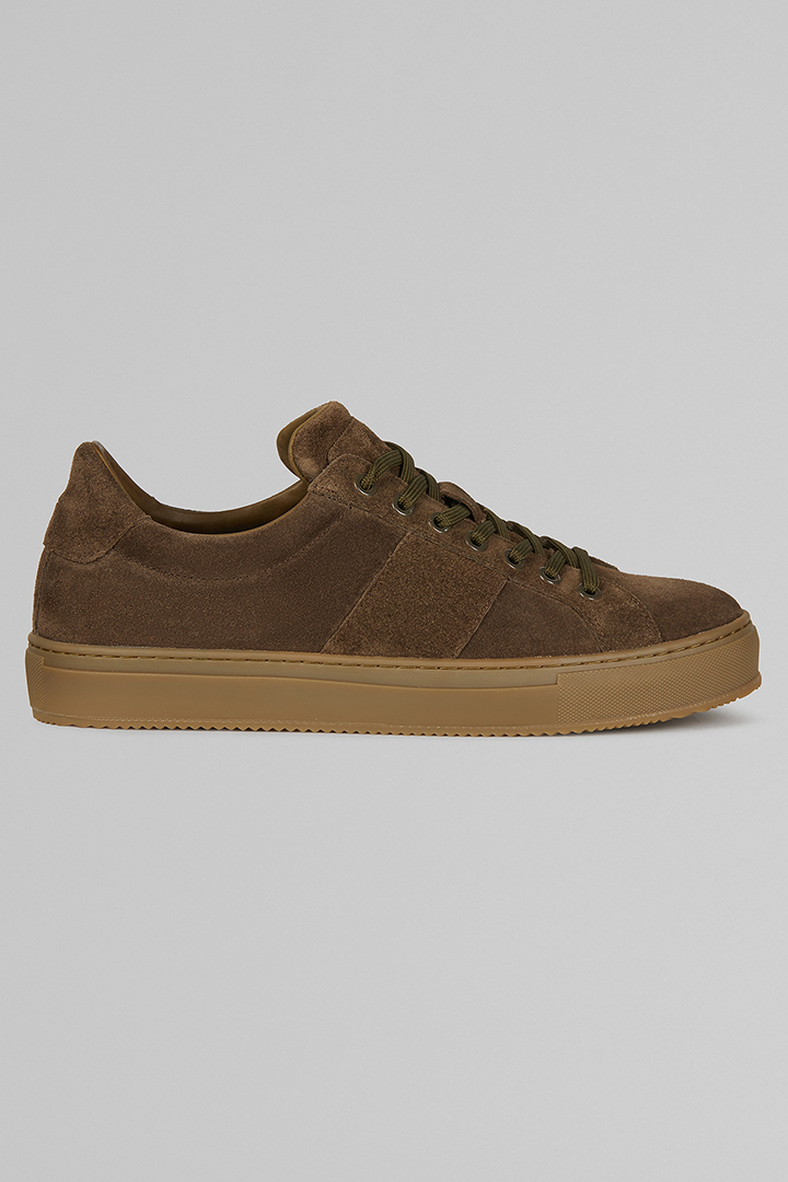 SNEAKERS IN PELLE SCAMOSCIATA, MILITARE, large