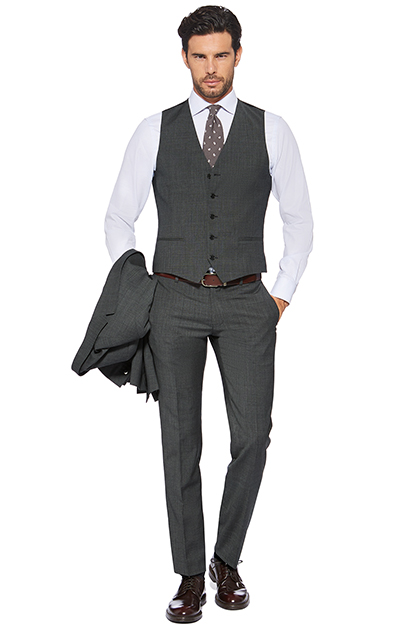 PLAIN WAISTCOAT IN SUPER 110S WOOL, Grey, medium