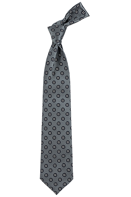PRINTED SILK LARGE-SCALE PATTERNED TIE - MADE IN ITALY, Grey, medium
