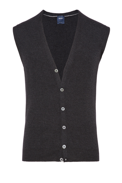SUPERLIGHT CARDED WOOL GILET, CUSTOM FIT - MADE IN ITALY, Charcoal, medium
