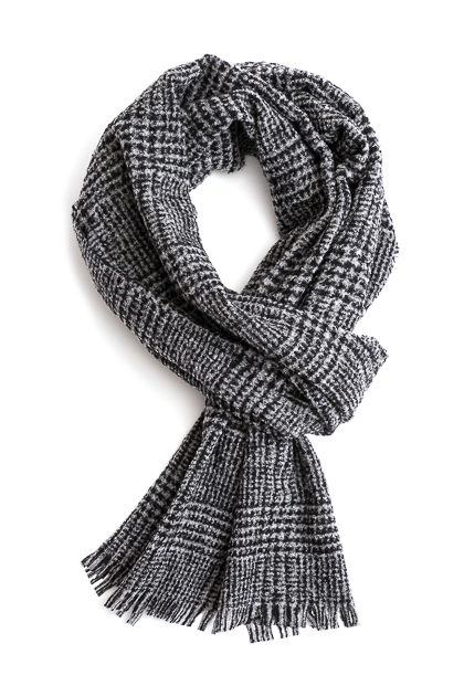WOOL BLEND HOUNDSTOOTH CHECK SCARF - MADE IN ITALY, Grey, medium