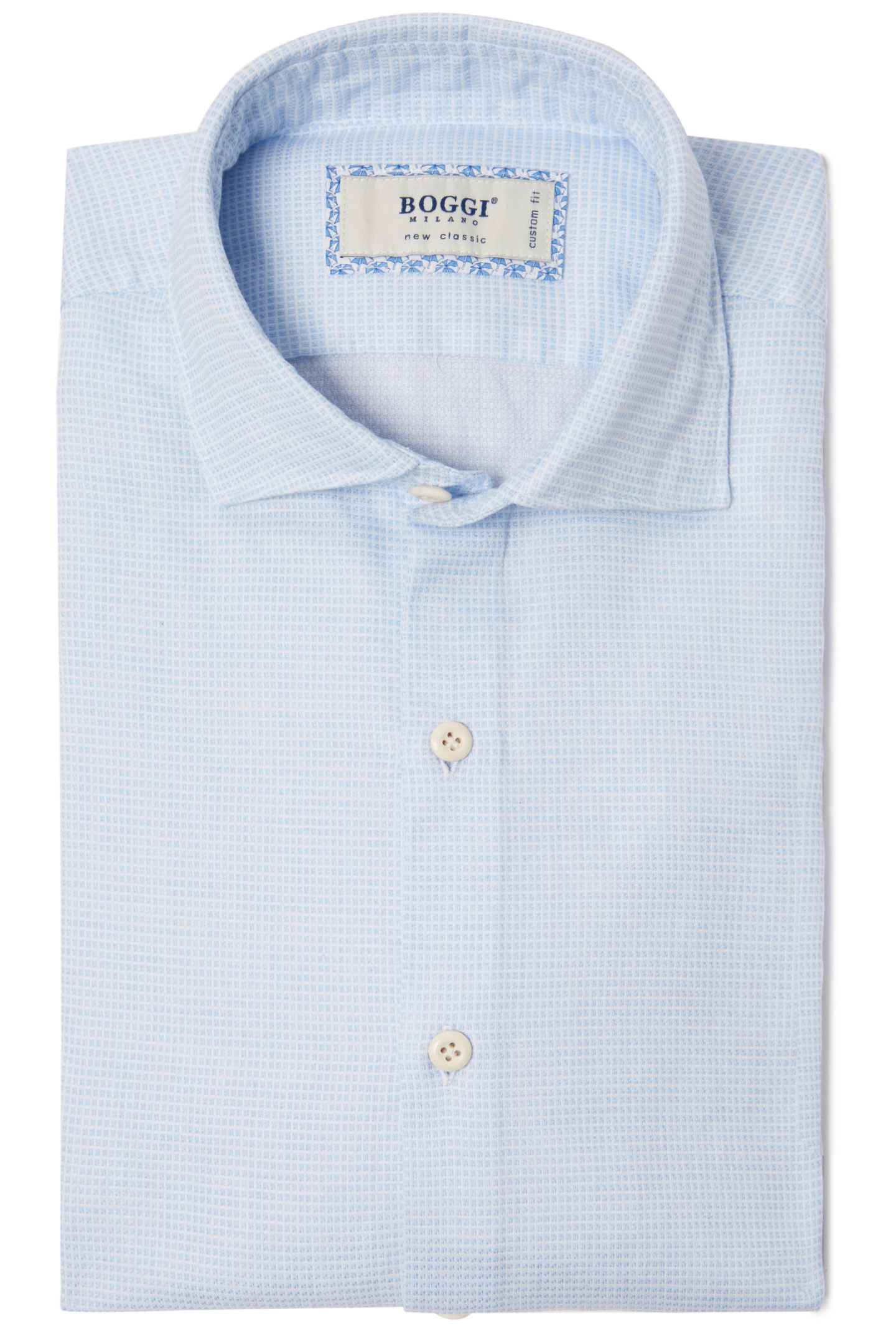 Custom Fit Shirt In Textured Cotton With Closed Collar Light Blue