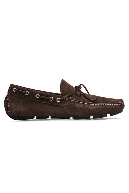SUEDE MOCCASINS WITH LACES, Dark Brown, medium