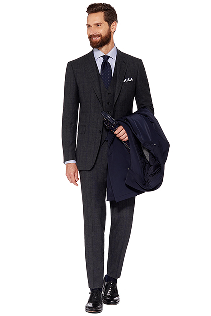 PRINCE OF WALES FUSED SUIT - SUPER 130 WOOL - MADE IN ITALY, Grey, medium
