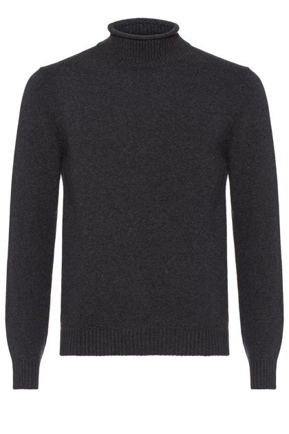 CASHMERE BLEND POLO NECK CUSTOM FIT - MADE IN ITALY, Charcoal, medium
