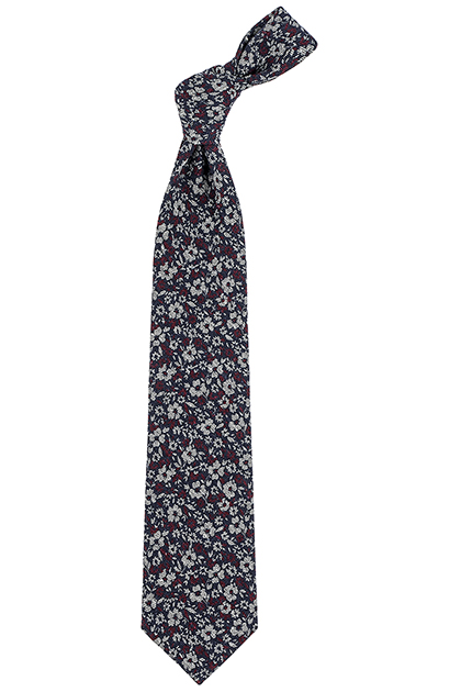 PRINTED WOOL BLEND FLORAL PATTERNED TIE - MADE IN ITALY, Blue - Grey, medium