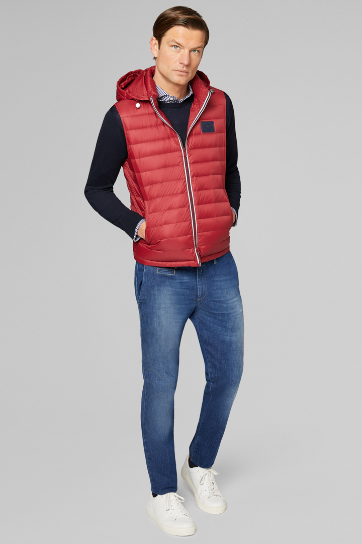 SLEEVELESS DOWN JACKET WITH HOOD, RED, large