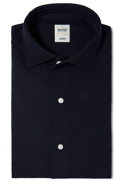 TAILORED FIT LONG-SLEEVED PIQUÉ POLO SHIRT WITH REGULAR COLLAR, Navy Blue, medium