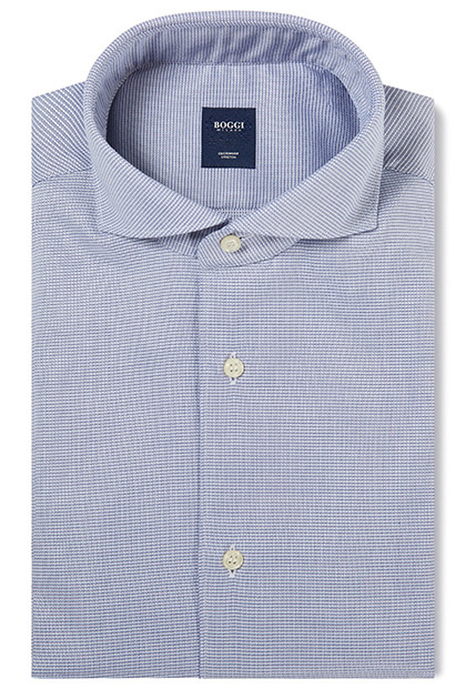 CUSTOM FIT BLUE SHIRT WITH NAPLES COLLAR, Blue, medium