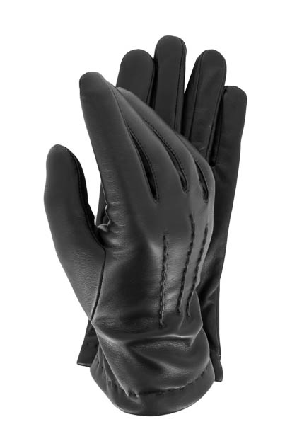STRETCH LEATHER GLOVES - MADE IN ITALY, Black, medium