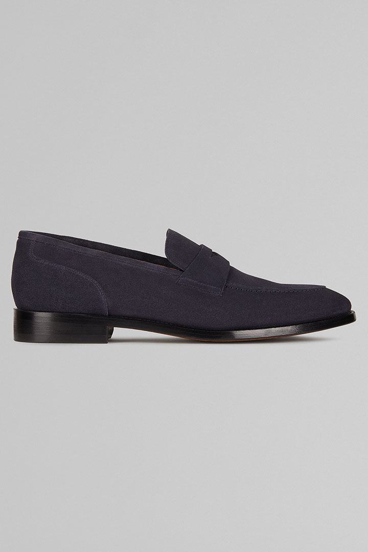 MOCASSINO IN PELLE SCAMOSCIATA, NAVY, large