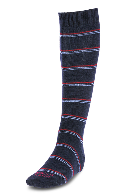 LONG STRIPED CASHMERE BLEND SOCKS - MADE IN ITALY, NAVY - BURGUNDY, medium