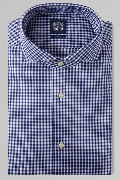 CAMICIA A QUADRETTI BLU COLLO NAPOLI SLIM FIT, , medium