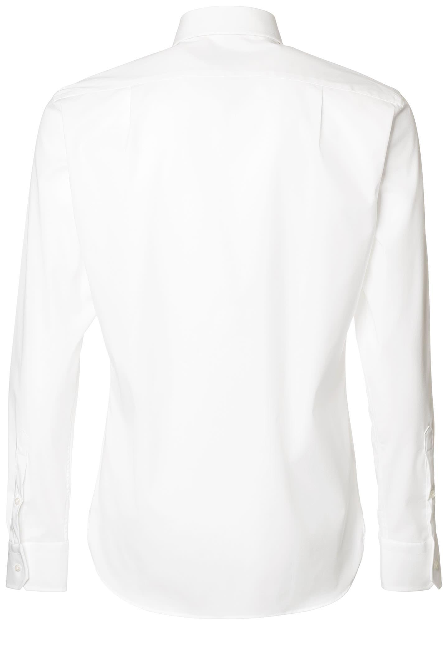 Two ply fil a fil stretch easy iron cotton shirt white boggi for 2 ply cotton shirts