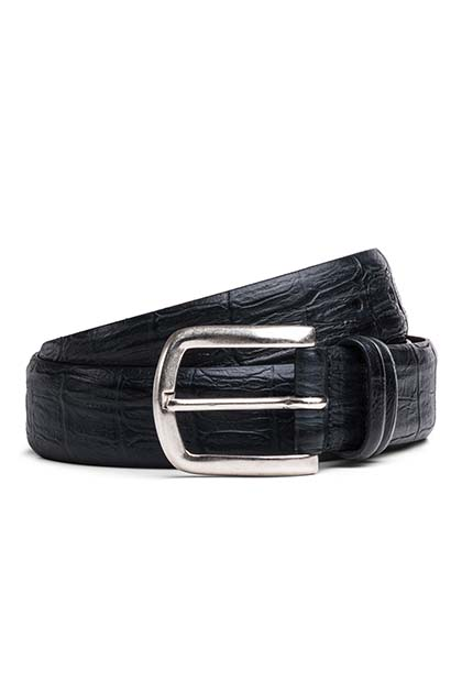 CROCODILE PRINT LEATHER BELT, Navy, medium