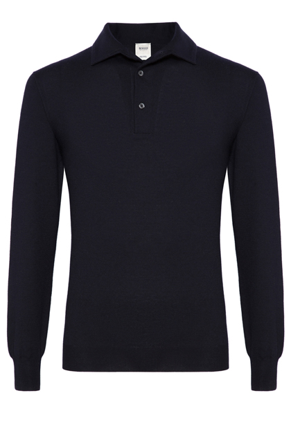 KNITTED MERINO POLO CUSTOM FIT - MADE IN ITALY, Navy Blue, medium