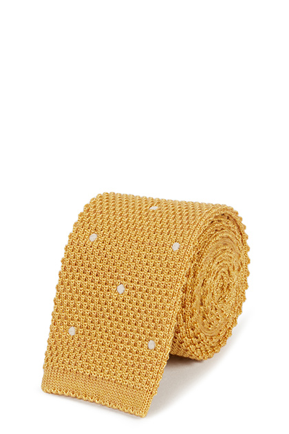 TRICOT A POIS IN LANA SETA, Ocra, medium