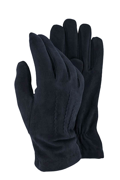 STRETCH SUEDE GLOVES - MADE IN ITALY, Navy Blue, medium