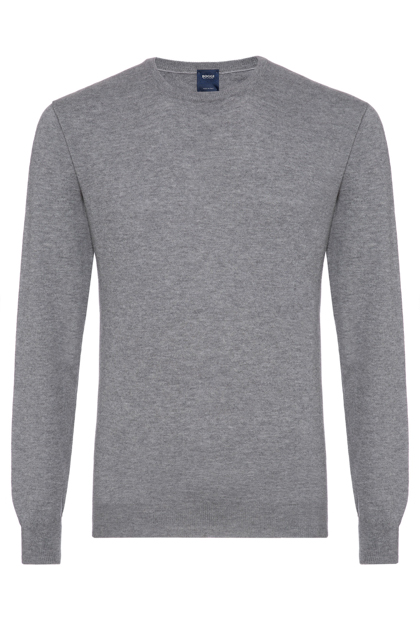 SUPERLIGHT CARDED WOOL ROUND-NECKED JUMPER, CUSTOM FIT - MADE IN ITALY, Grey, medium