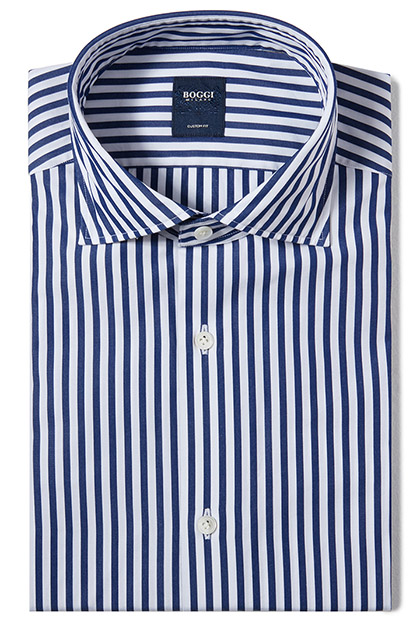 CUSTOM FIT COTTON SHIRT WITH FLORENCE COLLAR, Blue, medium