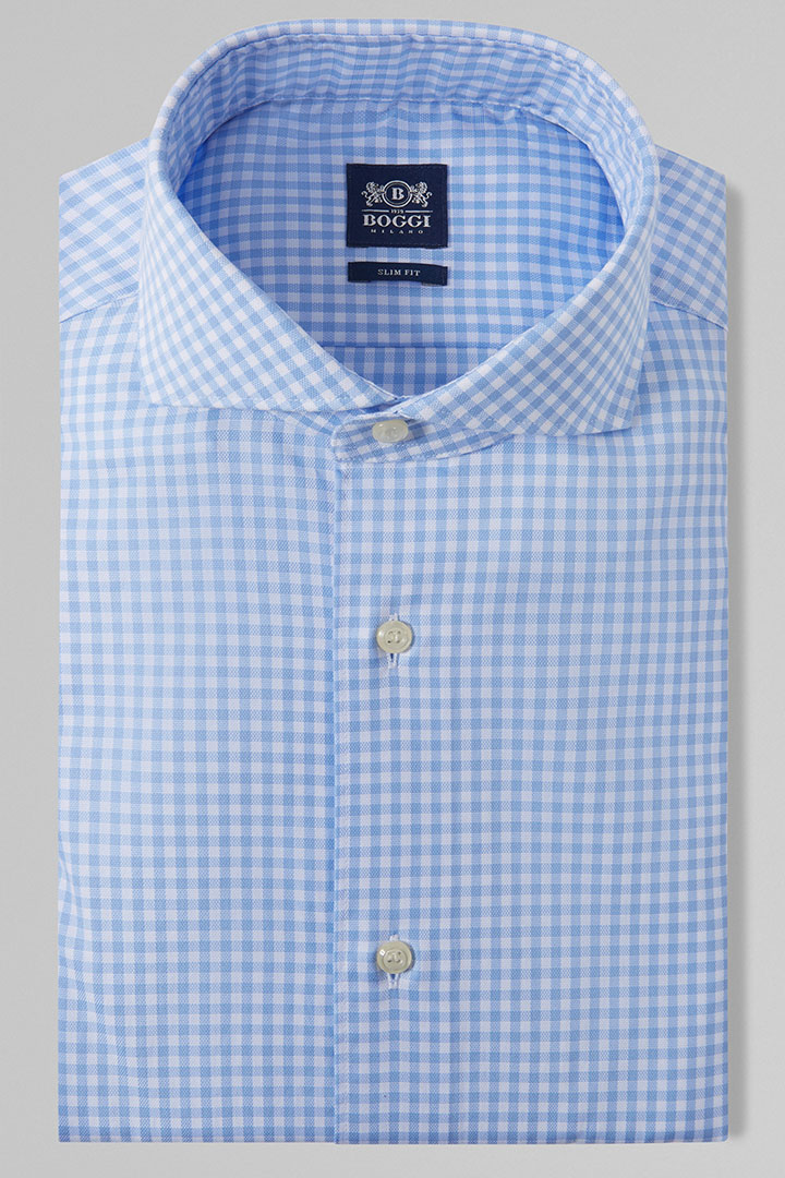 SLIM FIT SKY BLUE CHECKED SHIRT WITH NAPLES COLLAR, LIGHT BLUE, large