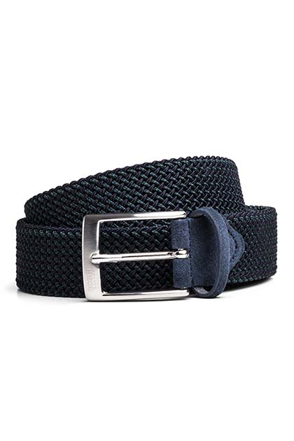 WOVEN MICRO PATTERNED BELT, Navy - Green, medium