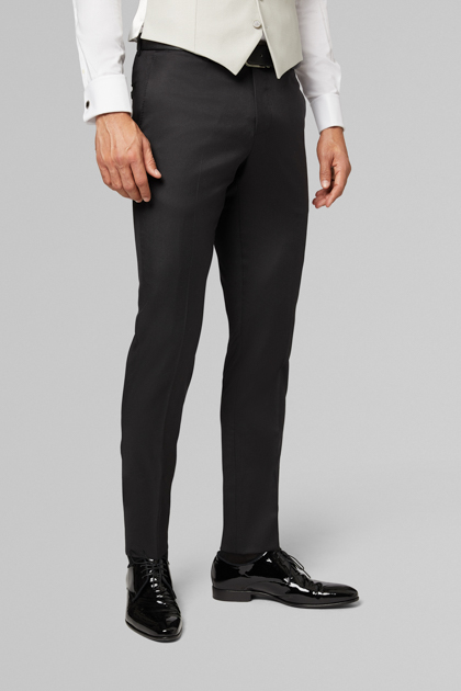 PANTALONE DA ABITO PER CERIMONIA COMPOSE IN LANA REGULAR FIT, NERO, medium