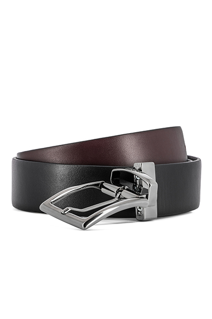 REVERSIBLE SMOOTH LEATHER BELT - MADE IN ITALY , BLACK - BURGUNDY, medium